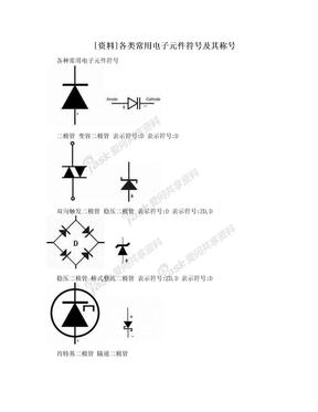[资料]各类常用电子元件符号及其称号