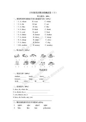 六年级英语期末检测试卷(十)