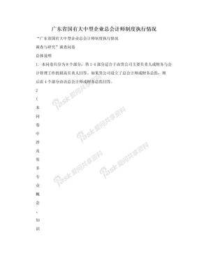 广东省国有大中型企业总会计师制度执行情况