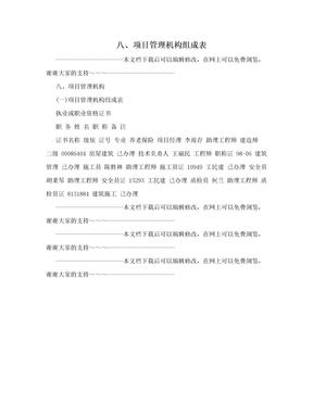 八、项目管理机构组成表