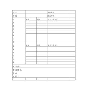 党员日常考察情况记录表