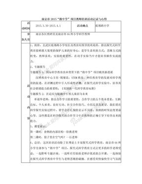 """教研活动记录-南京市2015""""做中学""""项目教师培训"""