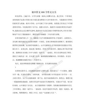 初中作文800字作文大全
