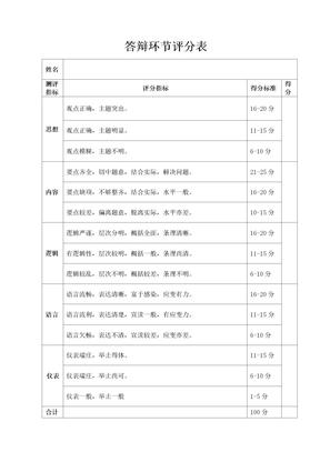 答辩环节评分表