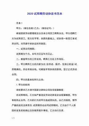 2020试用期劳动协议书范本
