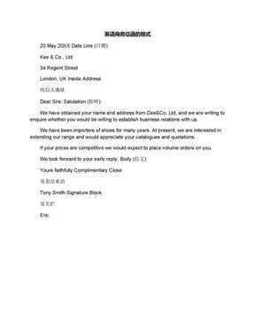 英语商务信函的格式