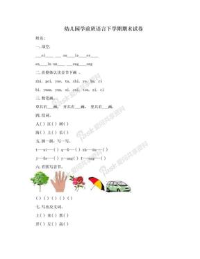 幼儿园学前班语言下学期期末试卷