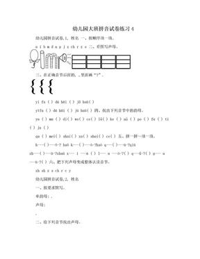 幼儿园大班拼音试卷练习4