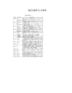 杨氏太极拳24式拳谱