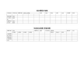 培训课程计划表