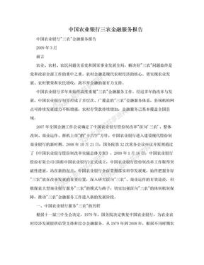 中国农业银行三农金融服务报告