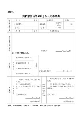 附件1:高校家庭经济困难学生认定申请表(1)