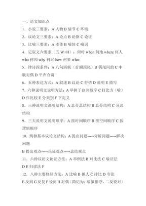 初中语文知识点归纳