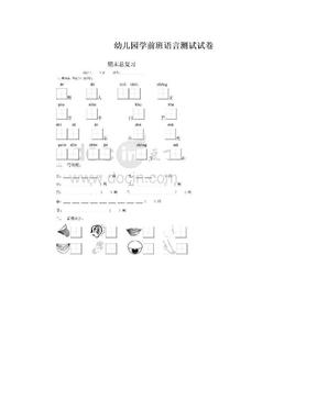 幼儿园学前班语言测试试卷