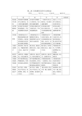 第__组_小组课堂合作学习评价表