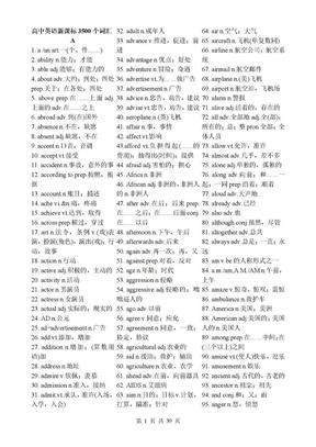 高中英语新课标3500个词汇