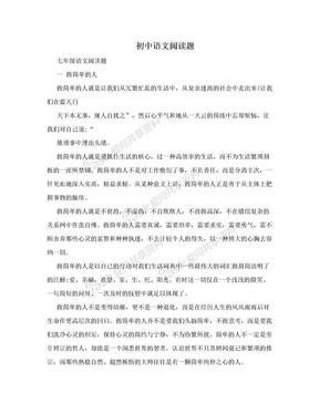 初中语文阅读题