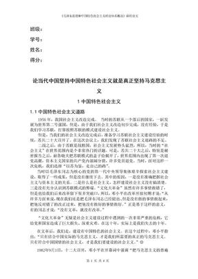 《毛泽东思想和中国特色社会主义理论体系概论》课程论文