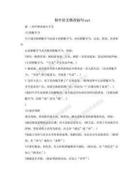 初中语文修改病句ppt