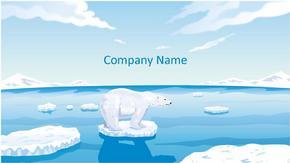 卡通北极熊背景动物ppt模板