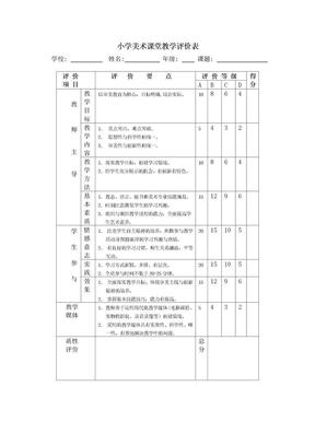 小学美术课堂教学评价表