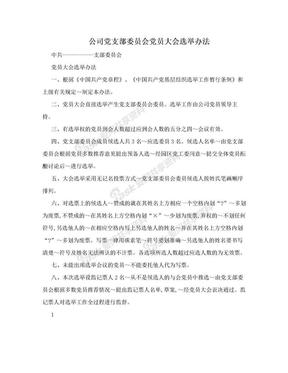 公司党支部委员会党员大会选举办法