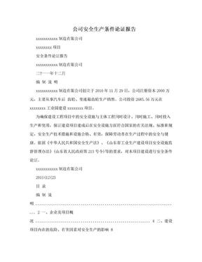 公司安全生产条件论证报告