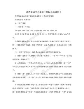 苏教版语文六年级下册配套练习册8