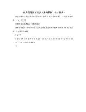 库房温湿度记录表(表格模板、doc格式)