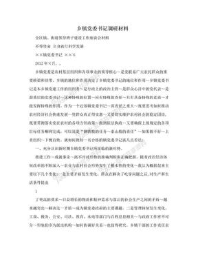 乡镇党委书记调研材料