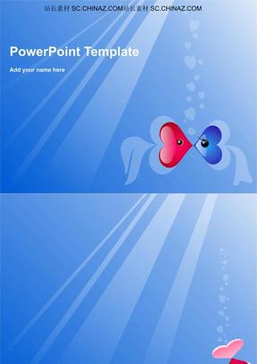 ppt模板 蓝色双鱼爱情PPT模板