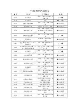 中国家谱网沈氏家谱目录