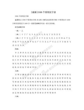 [最新]3500个常用汉字表