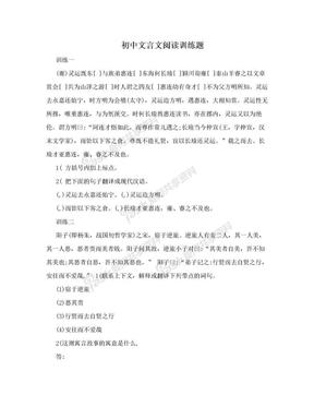 初中文言文阅读训练题