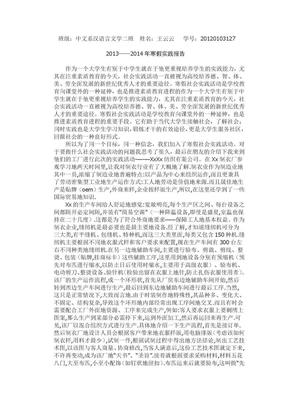 大学生寒假社会实践报告范文3000字