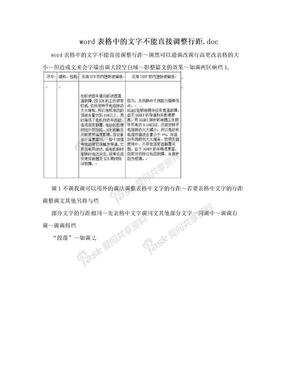 word表格中的文字不能直接调整行距.doc