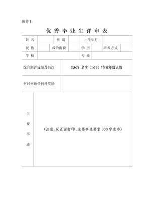 省级优秀毕业生评审表