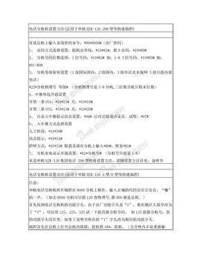 电话交换机设置方法 适用于申瓯HJK-120 208
