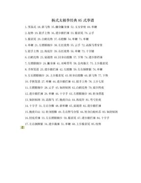 杨式太极拳经典85式拳谱