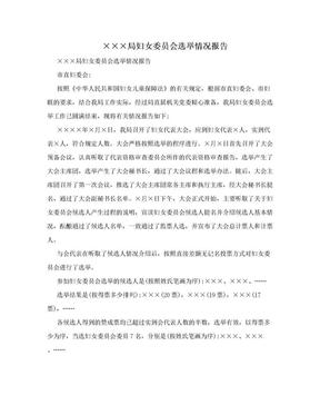 ×××局妇女委员会选举情况报告