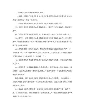 [重点]XX村党支部增补支部委员选举办法