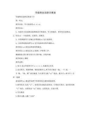 学前班汉语拼音教案