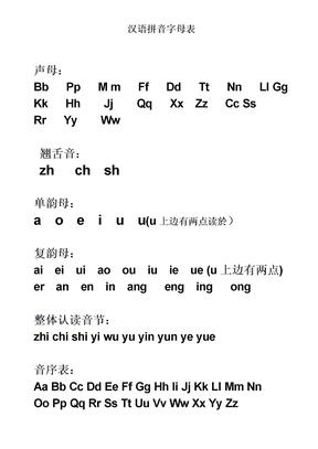 拼音字母表打印版