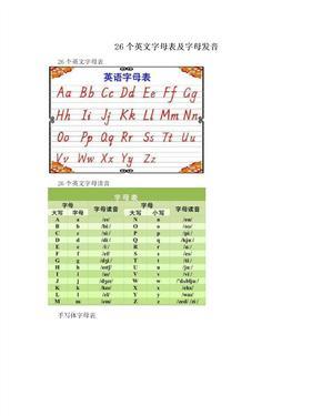 26个英文字母表及字母发音