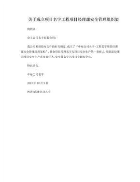 关于成立项目部安全管理组织架构的函