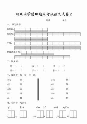 幼儿园学前班期末考试语文试卷.doc