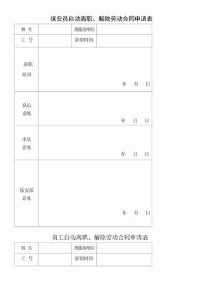 保安员自动离职解除劳动合同申请表.doc