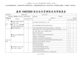 最新ISO22000食品安全管理体系内审检查表