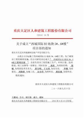 成立项目部红头文件01280
