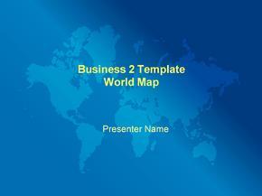ppt模板-蓝色世界地图背景-商务PPT模板